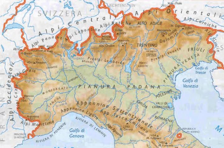 Cartina Italia Pianure.Dove Si Trova La Pianura Padana