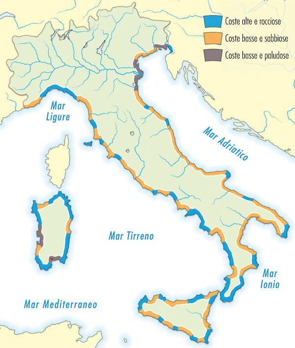Mare Mediterraneo Cartina.Regioni Bagnate Dal Mar Tirreno