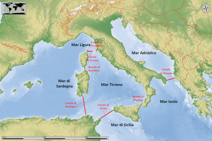 Cartina Geografica Mediterraneo Orientale.Mari Italiani