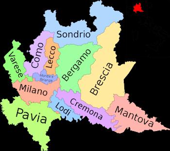 Cartina Muta Regioni Italia Settentrionale.Province Lombardia