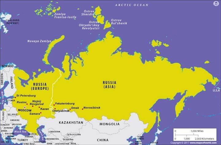 Cartina Fisica E Politica Della Russia.In Quale Continente Si Trova La Russia